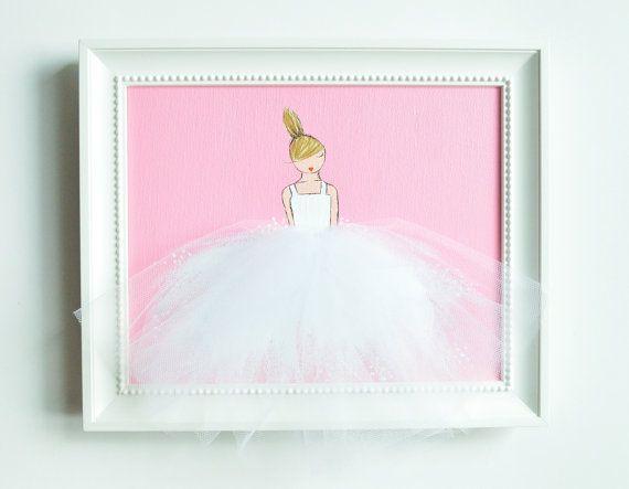 Ballerina, arte Room Decor di Girl, Nursery (tutu bianco su sfondo rosa)