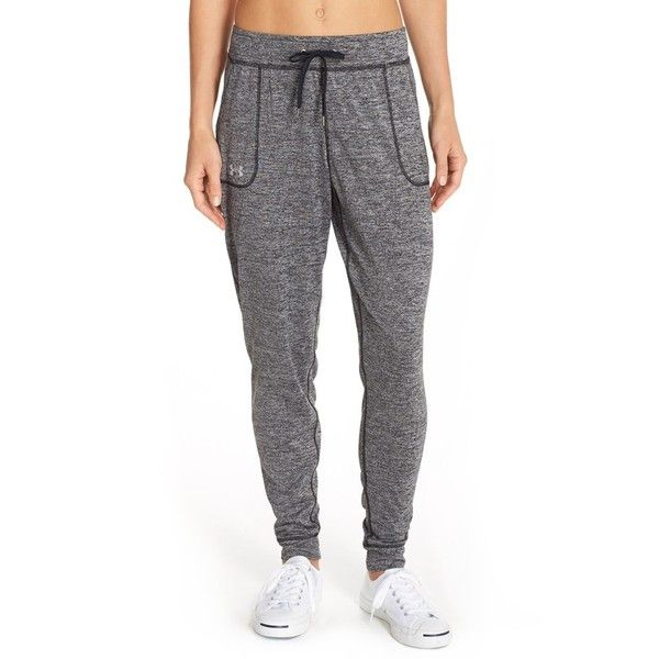 Under Armour 'Twist' Jogger Pants ($45) ❤ liked on Polyvore featuring activewear, activewear pants, black, under armour and under armour sportswear