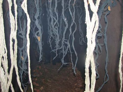 hanging vines- add to the creepiness of the haunted forest. Paint, twist creepy cloth or cheese cloth, and let dry.