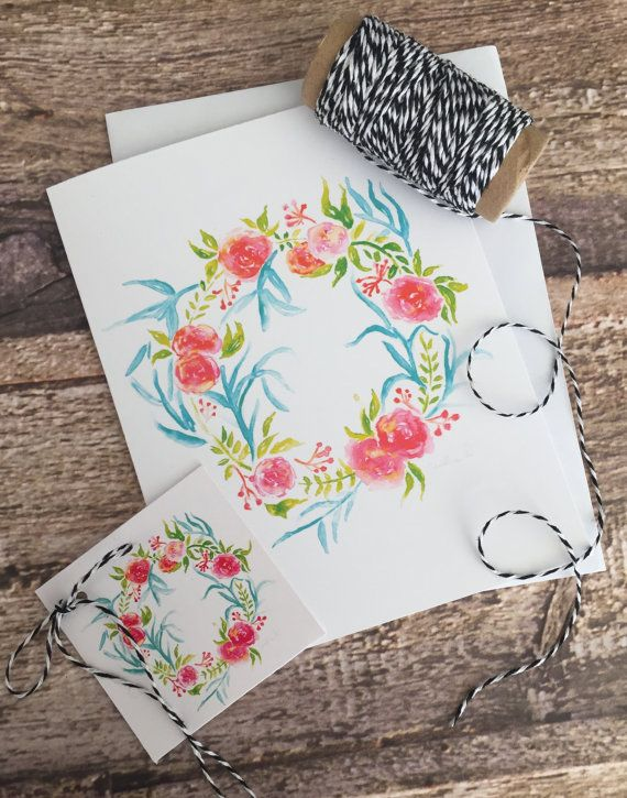 Bright floral wreath watercolour greeting card and matching