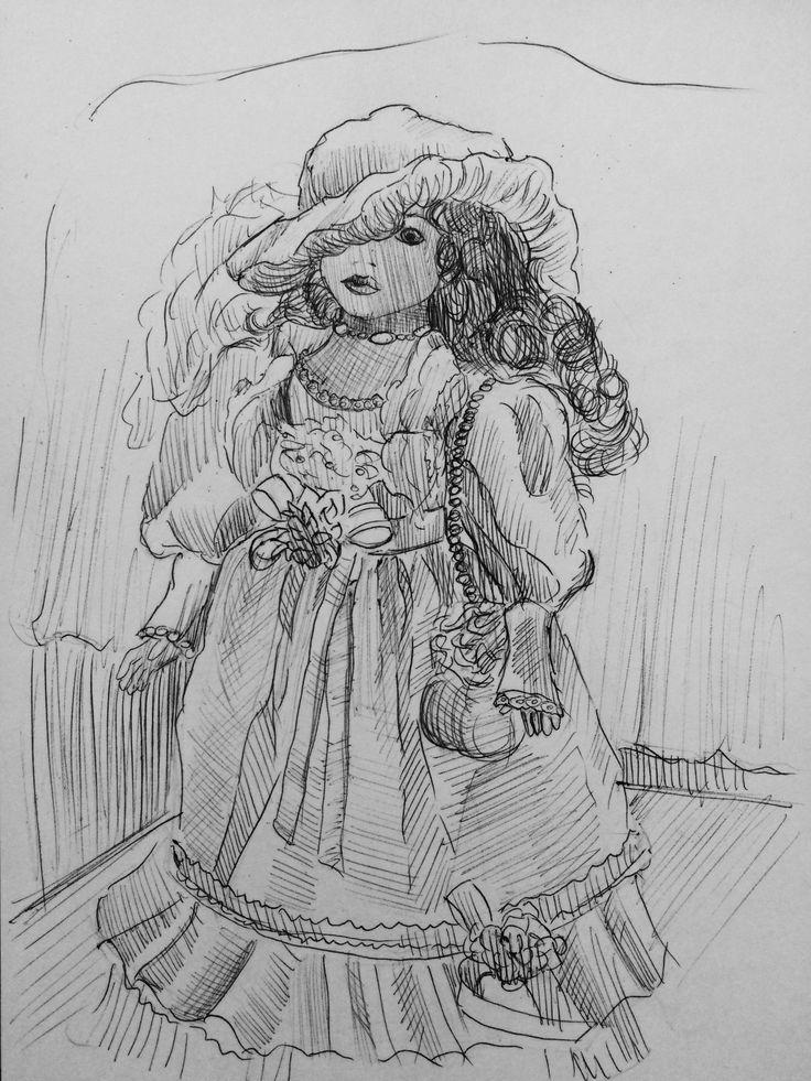 Doll. Sketch . Ball-point pen.