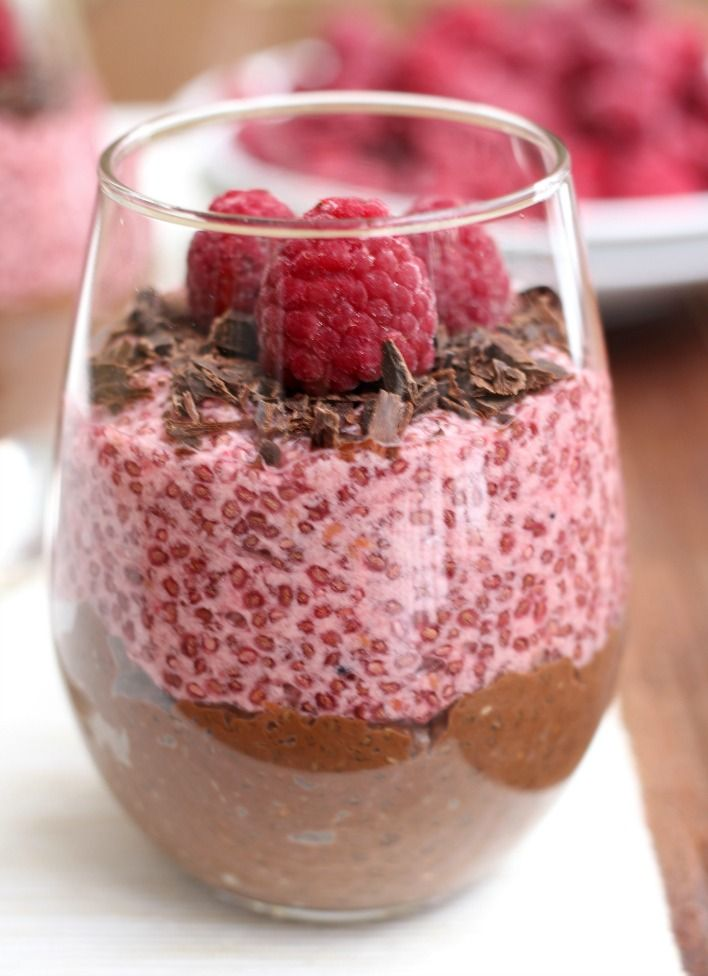 Chocolate & Raspberry Chia Pudding (makes 2 cups) - 6 tbsps chia seeds, 2 cups coconut milk or any non-dairy milk, 6 large squares dark chocolate (yield about 2 tbsps melted + 4 tbsps grated chocolate to decorate), ½ cup fresh or frozen raspberries + a few raspberries to decorate.