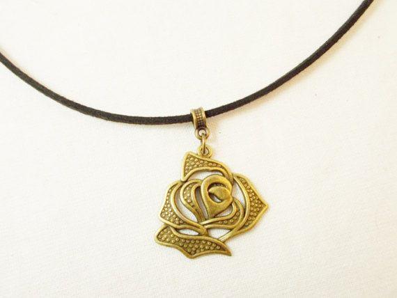#Girlfriend #romantic #gift big #rose bronze #choker by 10dollarjewellery