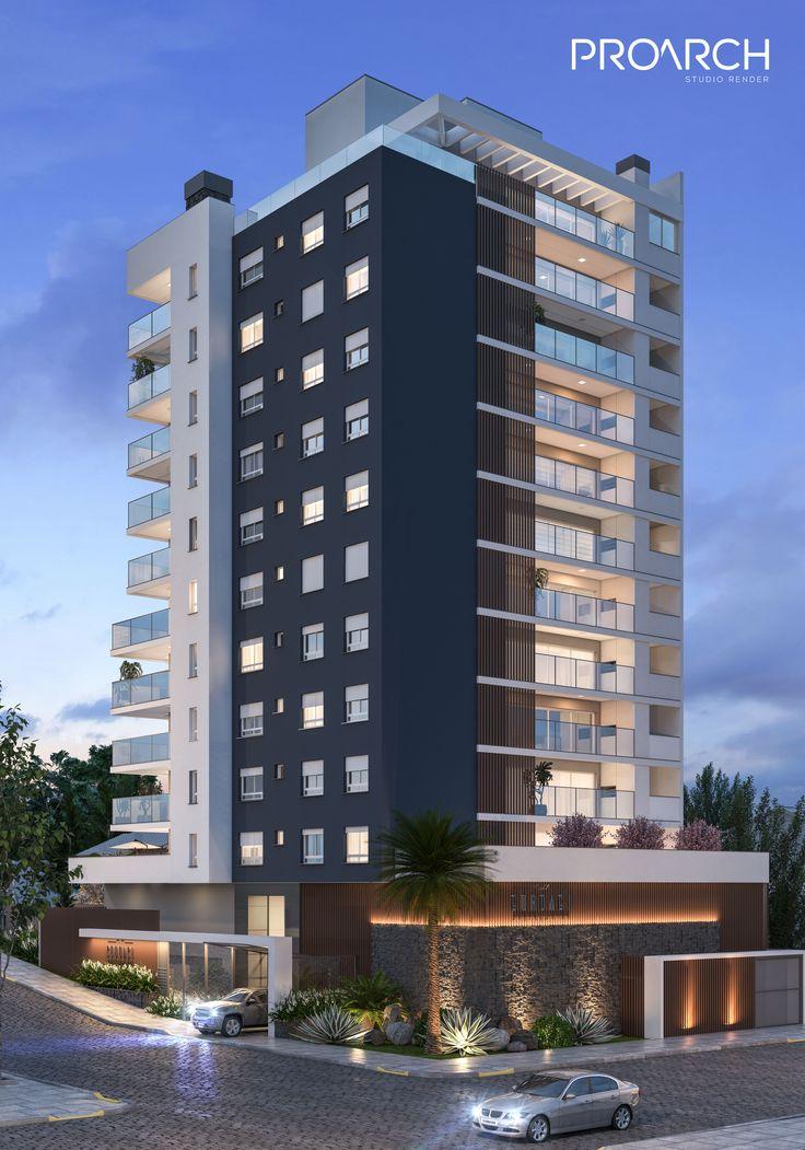 Exterior By Sagar Morkhade Vdraw Architecture 8793196382: Fachada Noturna Com Iluminação Para Destacar A Arquitetura E Os Revestimentos Do Empreendimento