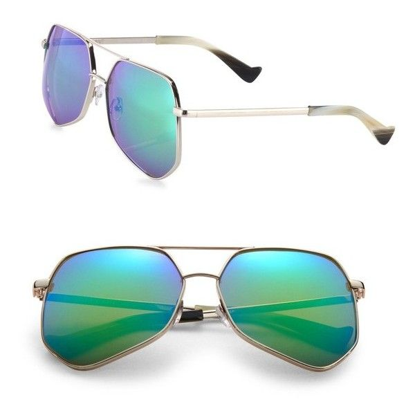 Grey Ant Megalast 61Mm Aviator Sunglasses ($420) ❤ liked on Polyvore featuring accessories, eyewear, sunglasses, green, green lens sunglasses, grey ant sunglasses, aviator sunglasses, green sunglasses and green aviator sunglasses