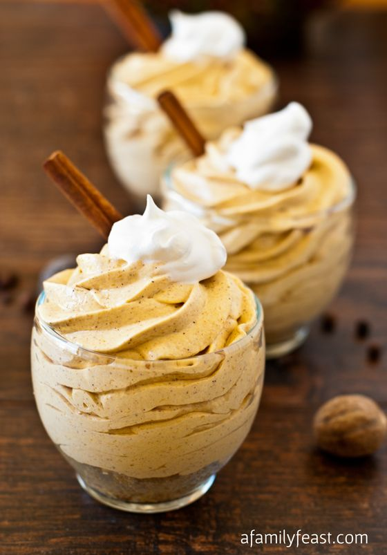The ORIGINAL recipe...No-Bake Mini Pumpkin Cheesecake - a creamy and delicious pumpkin cheesecake mousse with pumpkin pie spice flavor!