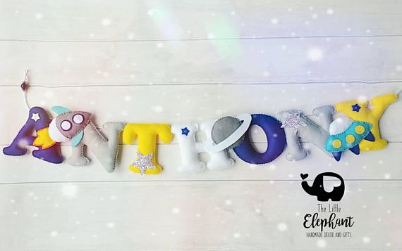 Outer Space Felt Name Garland, space theme name banner, nursery wall hanging, space nursery decor, boys room decor, personalised banner. Personalised felt name garland with space ships and star details. Garlands are hand cut from wool blend felt and hand stitched using cotton