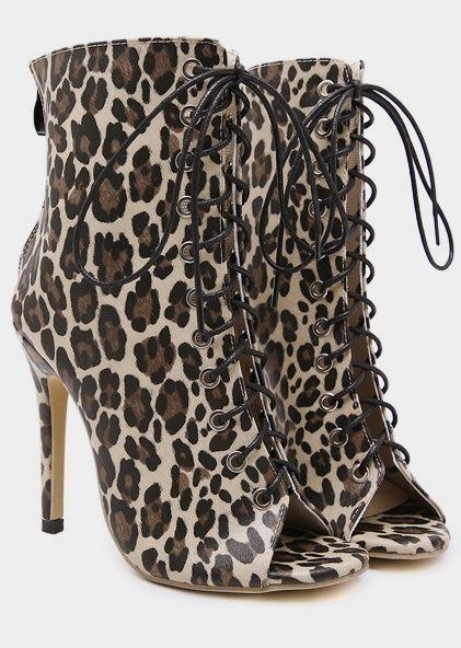 b4fb049a09d FairySeason   Leopard Printed Peep Toe Heeled Ankle Boots
