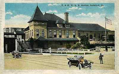 Rockford Illinois IL 1920s Chicago North Western Railroad Depot Vintage Postcard