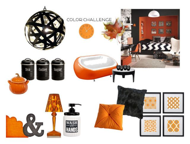 """Orange is the new black"" by andrea-sara-maniga on Polyvore featuring interior, interiors, interior design, Casa, home decor, interior decorating, Kartell, Avanti, Typhoon e Universal Lighting and Decor"
