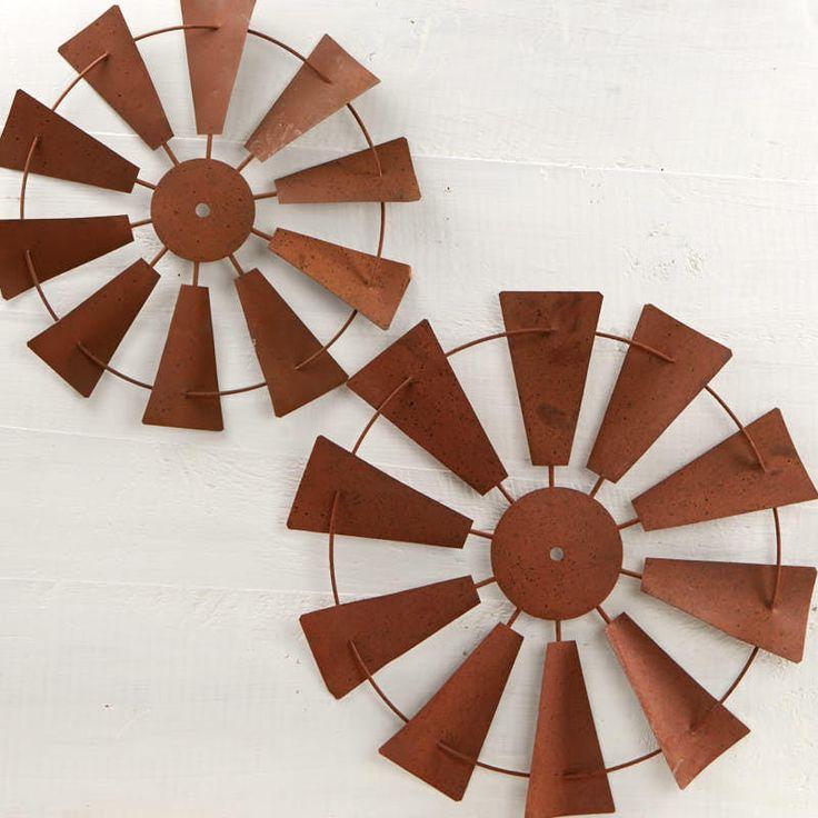 Rusty Tin Windmill Wall Decor Set