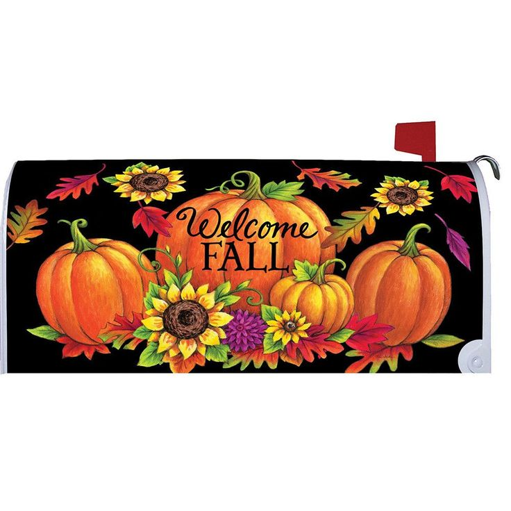 Pumpkin Sunflowers Welcome Fall Large Mailbox Cover