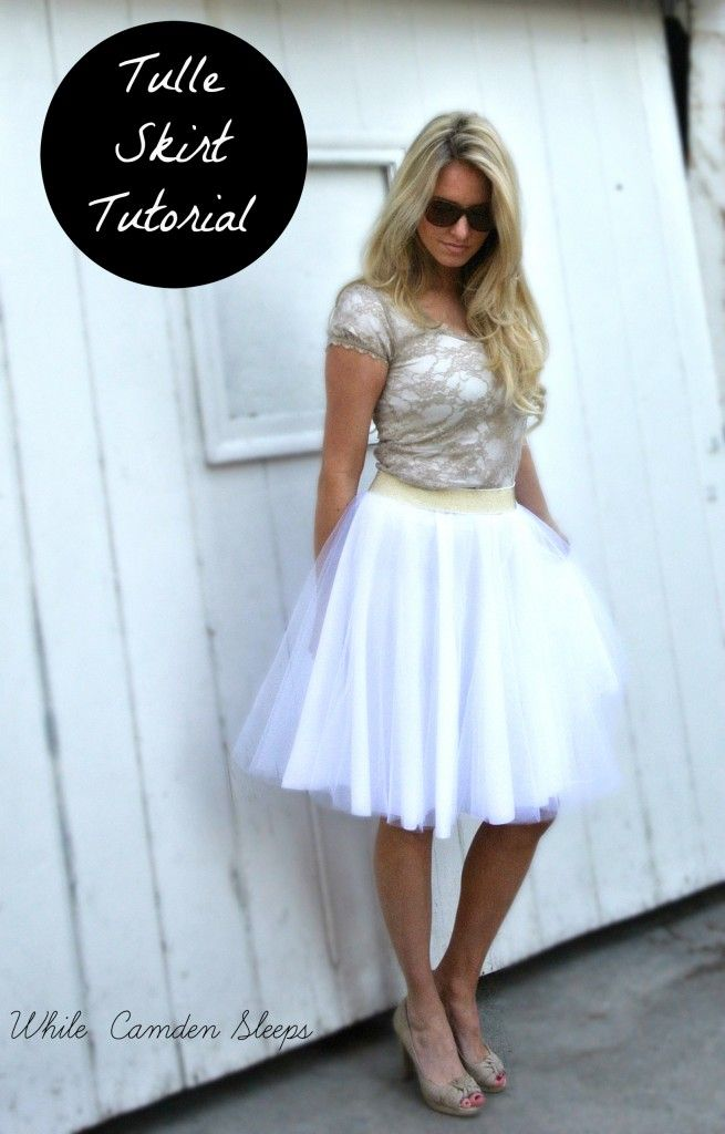 DIY tulle skirt tutorial. No seams, hemming, or gathering. Just cut, stack, baste, and attach waistband.