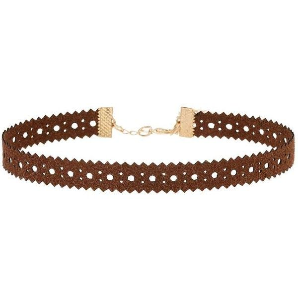Miss Selfridge Cut Out Choker (170 MXN) ❤ liked on Polyvore featuring jewelry, necklaces, dark brown, choker jewelry, miss selfridge, cut out necklace, choker necklace and cut out jewelry
