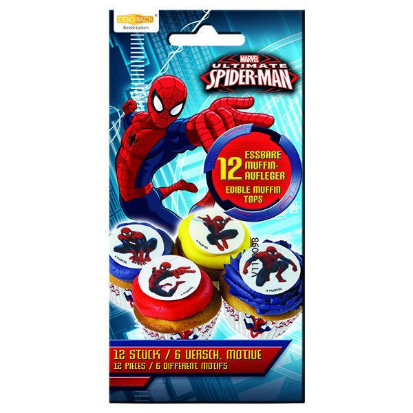 Muffiny te bardzo popularne mini babeczki są przysmakiem dzieci. Zyskają wiele gdy dodasz do nich cukrowe opłatki Spiderman. Opakowanie zawiera 12 sztuk opłatków o średnicy 4,5 cm z nadrukami super bohatera Spidermana. Sam opłatek jest elastyczny a nadruk wykonany barwnikami spożywczymi.