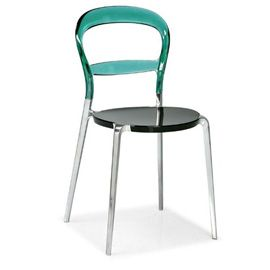 Calligaris Wien Dining Chair Range - 340117 - Wien Dining Chair Black Seat/Aqua Back/Aluminium Legs
