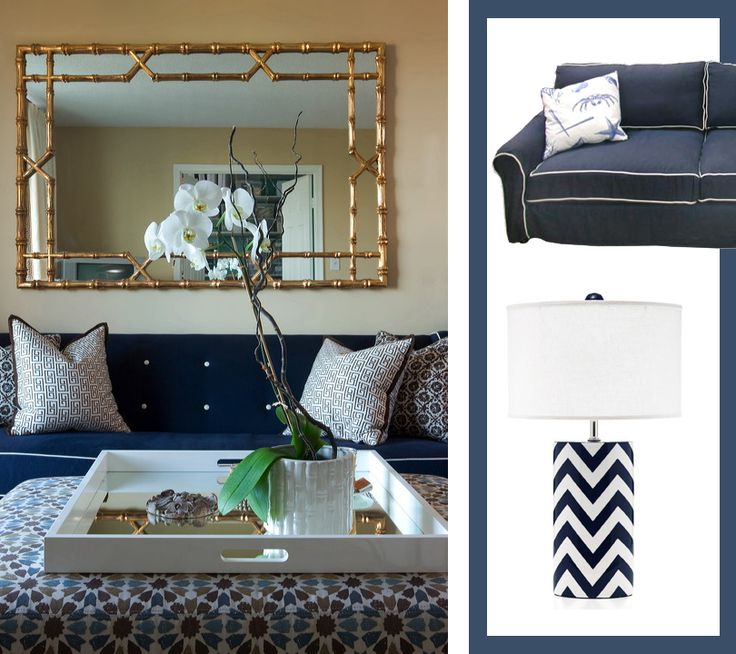 Nautical Navy Sofa With A Gold Bamboo Mirror For A