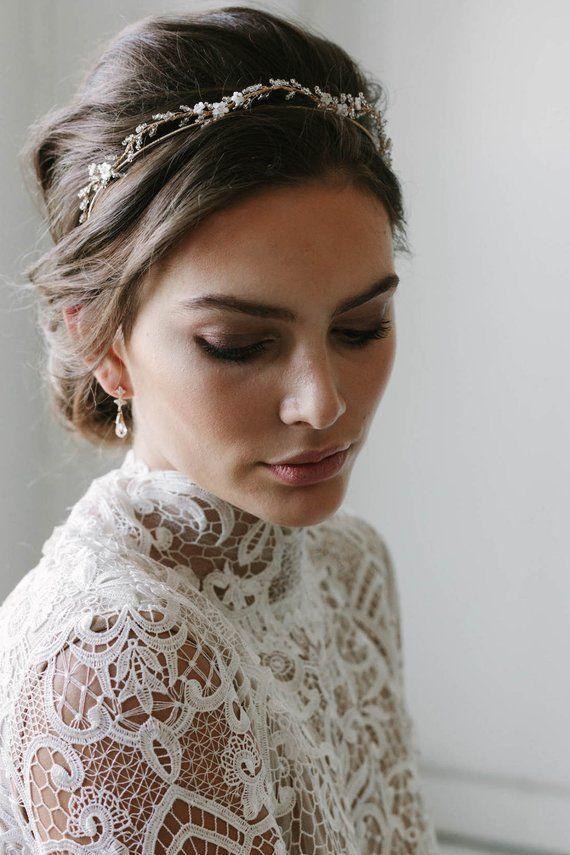 BLANCHETT | delicate wedding crown, bridal tiara, gold wedding headpiece, bridal... wedding Tiara headpiece gold delicate crown bridal BLANCHETT