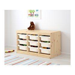 IKEA - TROFAST, Aufbewahrung mit Boxen, Kiefer/weiß, , Robust und farbenfroh - die Kleinen können darauf sitzen, darauf liegen, darauf spielen - und selbst das  Aufräumen der Spielsachen macht damit Spaß.Mit mehreren Rillen zum Einschieben von Kästen und Böden nach Bedarf - auf Wunsch immer wieder anders.Auf Kindergröße abgestimmt, damit die Kleinen alles erreichen und selbst aufräumen können.