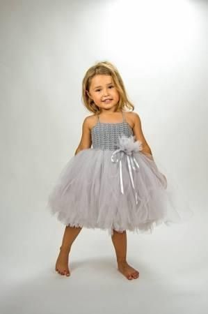 SALE. Ready to ship. Size 2 Years. Light Grey Girl  Tutu Dress. Baby Flower Girl Tulle Dress with Lace Stretch Crochet Bodice. - Brought to you by Avarsha.com