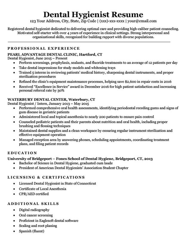 Resume Templates Dental Hygienist ResumeTemplates