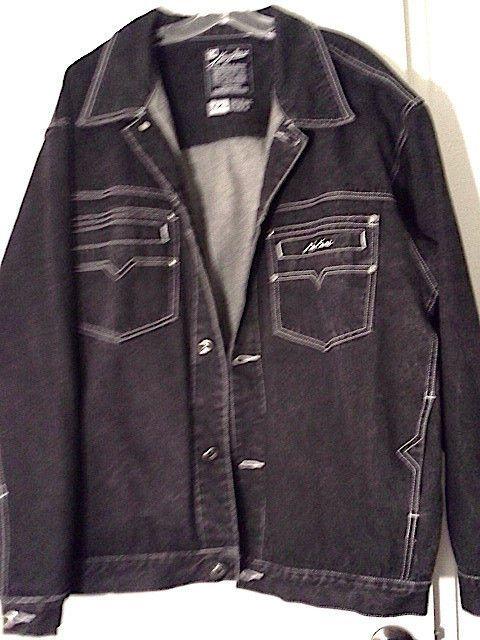 vtg 90s karl kani drk blue black jean denim jacket xxl. Black Bedroom Furniture Sets. Home Design Ideas