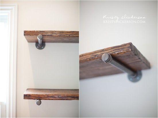 DIY Pipe Shelving - site links to tutorial. Most of it focused on distressing wood. Supports: malleable iron floor grange; steel pipe; caps; Sheetrock screws. http://www.kristydickersonblog.com/?postID=372&restoration-hardware-inspired-office-shelves