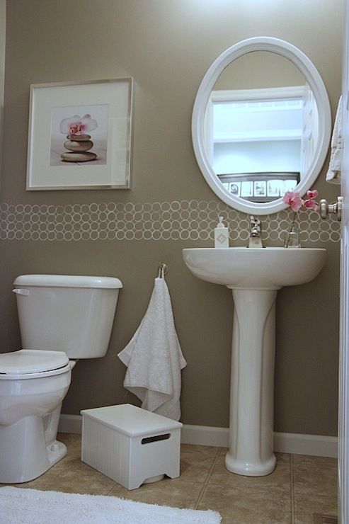 The Awesome Web  Spell gray taupe walls white pedestal sink white oval mirror white rug pink accents Adorable pink u beige powder paint bathroom vanity this color