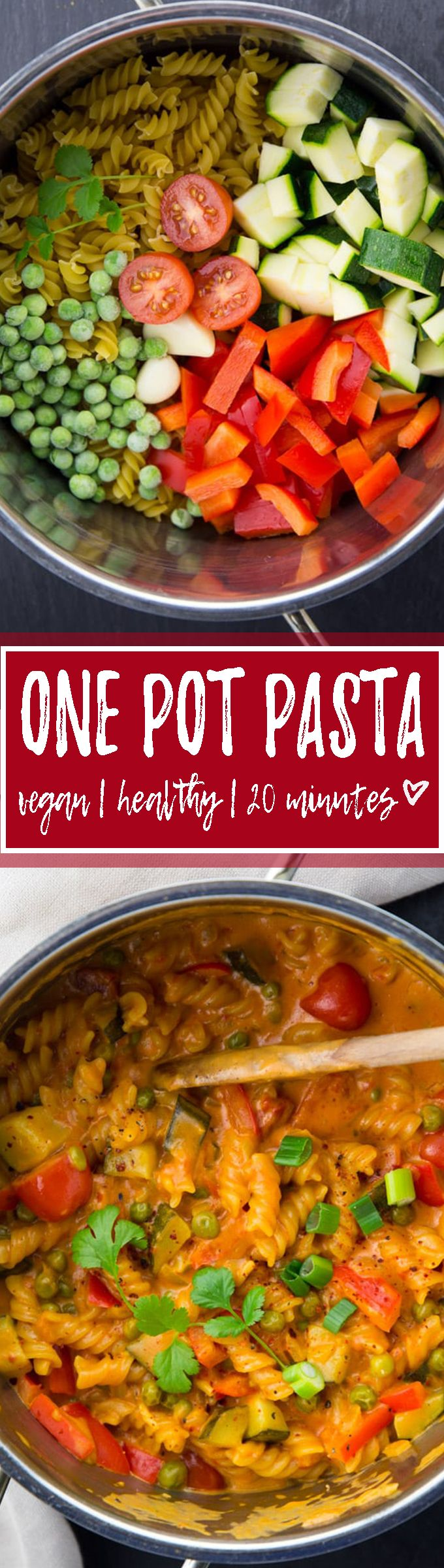 This Asian style vegan one pot pasta with coconut milk and red curry paste is my new favorite meal for weeknight dinners. Easy, healthy, and so incredibly delicious and creamy! <3 | veganheaven.org