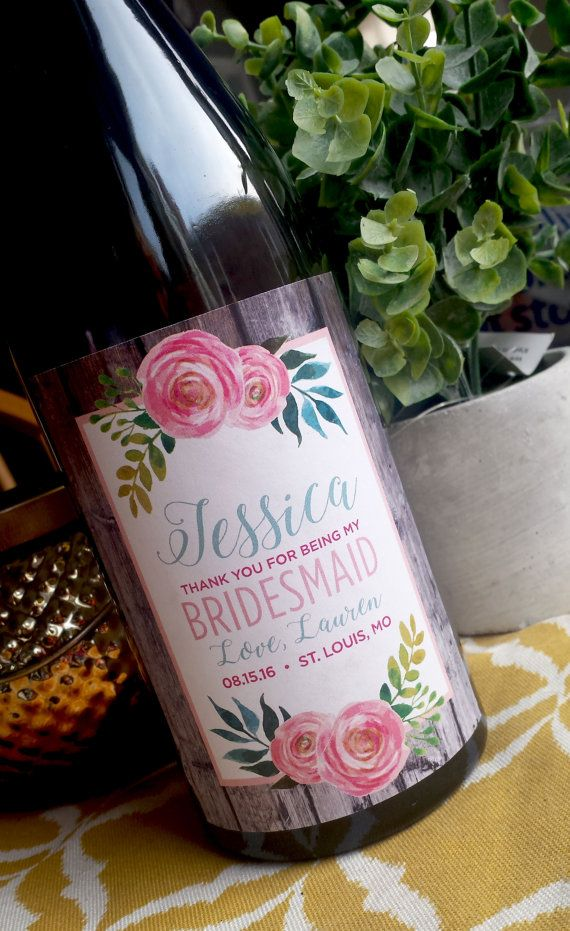 wine wedding shower gift poem%0A Will you be my Bridesmaid Wine Label  Wedding Wine Label  Custom Wine  Label  Rustic Wedding Wine Bottle Label