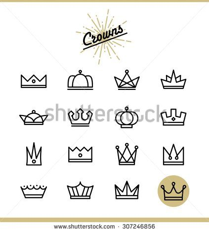 Set of line crown icons, vector illustration