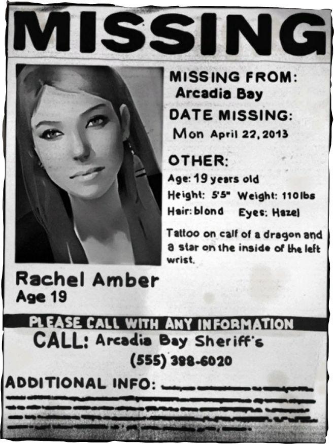 Missing Person Paper Rachel Amber Life is strange Pinterest - missing poster generator