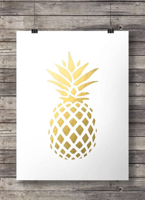 Faux gold foil pineapple print   tropical by SouthPacific on Etsy