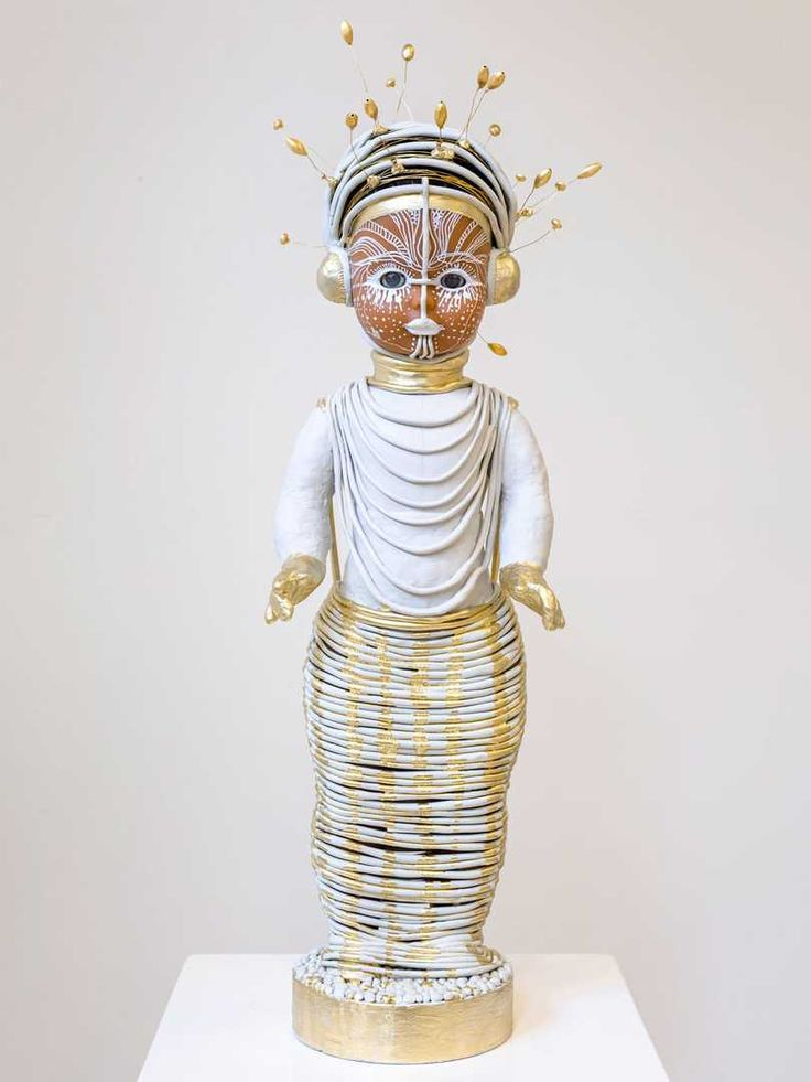 The Public House of Art | Preta Wolzak - Iniko Statue. Modern Sculptures. Preta Wolzak is a photography artist that has created a special series  named 'Dolls' exclusively for The Public House of Art's special Exhibition - Identity Kit. #artforall #white #golden #doll #sculpture
