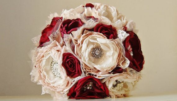 Fabric Flower Bouquet, Brooch Bouquet, Bridal Wedding Bouquet, Handmade Bridal Bouquet, Vintage Wedding, Red Roses on Etsy, $343.84 AUD