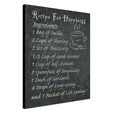 Stretched Canvas Art Words & Quotes Recipe for Happiness by NBL Studio Ready to Hang – AUD $ 42.89
