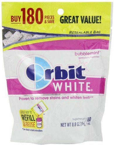 Orbit Chewing Gum White Bubblemint, 180-count (Pack of 2). It also helps whiten your teeth. Orbit Chewing Gum White Bubblemint, 180-Count. Includes 2 refill packs .360 Pieces! Resealable Bag. This Orbit Bubblemint Gum has 180 pieces per bag, enough for you to keep some for yourself and share with others. Orbit White Gum Refill is proven to freshen your breath. Great Way to Refill and Reuse. 35% fewer calories than sugared gum. Easy to Share Take Anywhere.