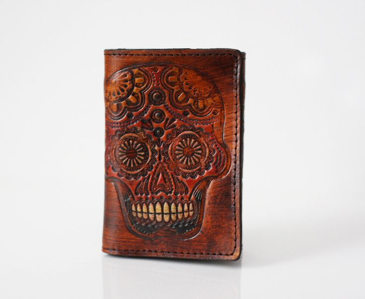 Men's Leather Wallet / Trifold / Sugar Skull / by flourishleather, $50.00