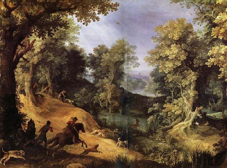Фламандский художник Paul Bril (1554-1626)..Chasse au cerf