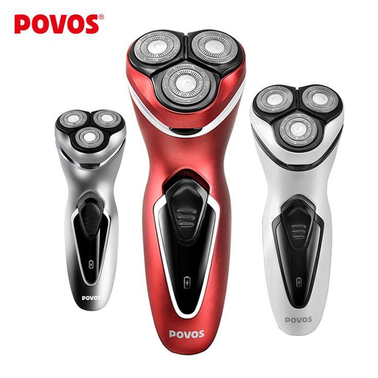 Máquina afeitar eléctrica masculina POVOS Diseño cabezal cuchilla triple ergonómica Afeitadora resistente al agua Recortadora incorporada PW751/750