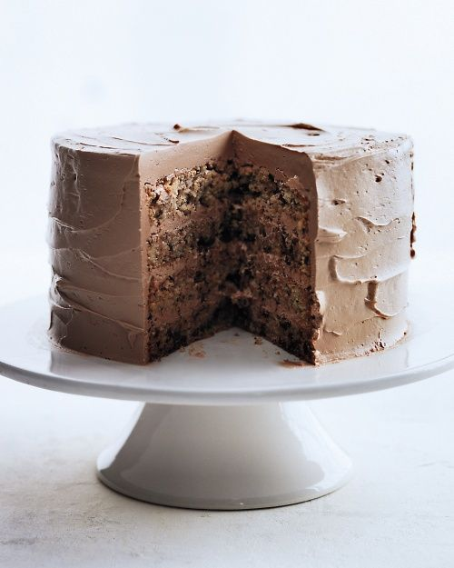 Chocolate-flecked layer cake with milk chocolate frosting from Martha Stewart Living Magazine,