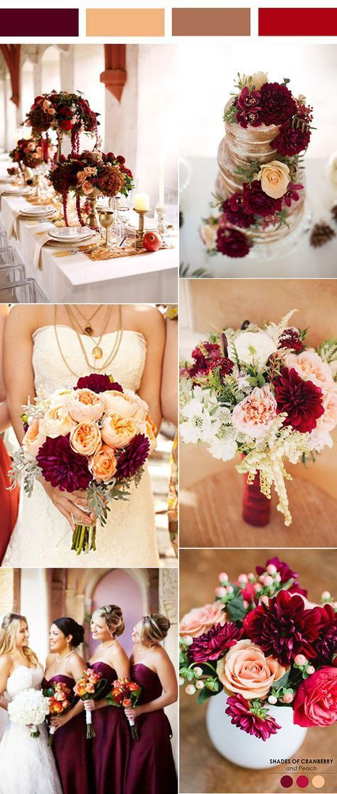 vintage burgundy, peach and brown wedding color inspiration.jpg