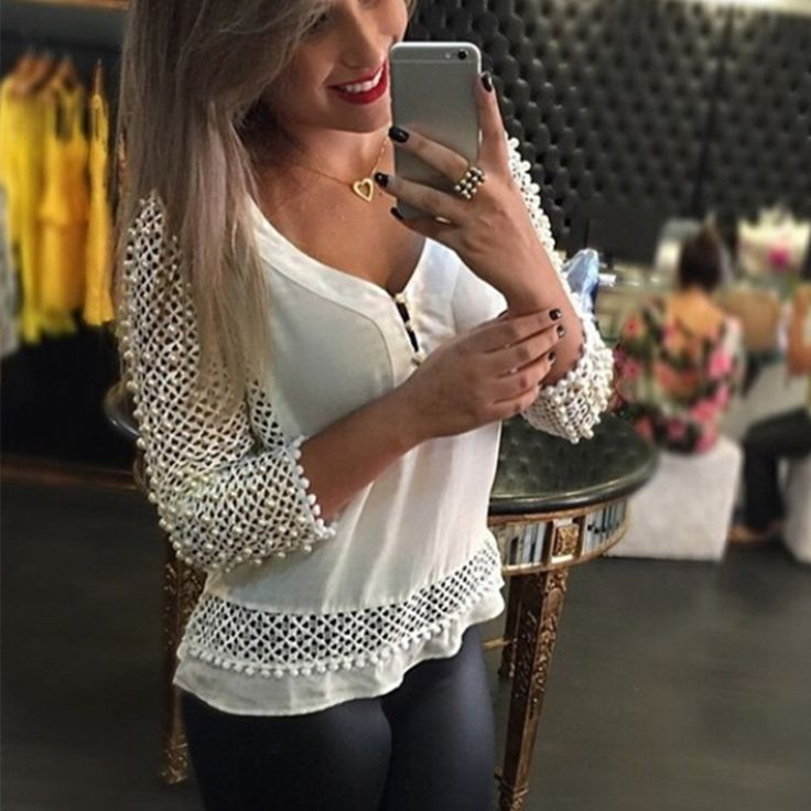 2017 Spring Sexy Lace Chiffon Blouse Women V-neck 3/4 Sleeve Hollow Out White Shirts Casual Loose Tops Plus Size S-3XL Blusas