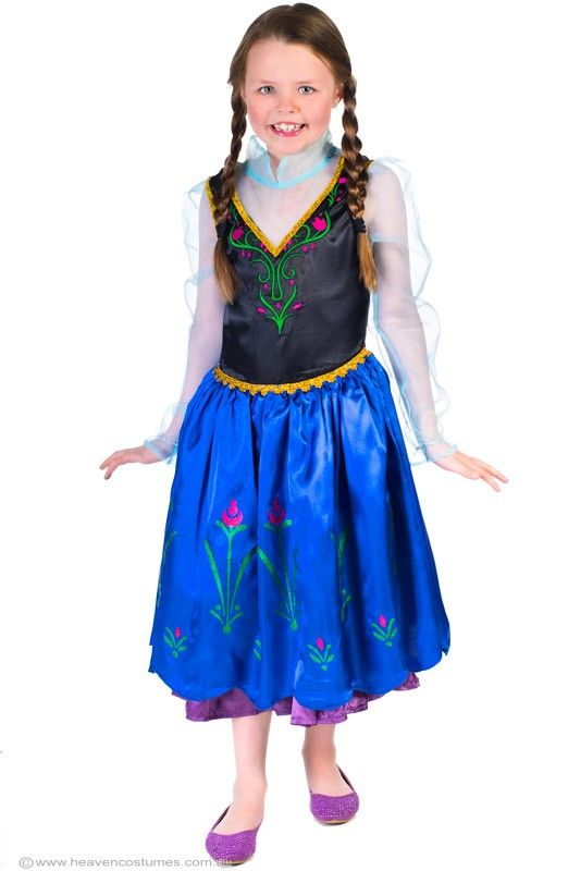 Anna Girls Fancy Dress Frozen Costume - Anna Girls Frozen Costume  Help save Arendelle in this girls Anna costume from Frozen. Awesome childrens fancy dress costume perfect for your next Disney princess costume party, or as this years Book Week costume idea.   Includes:  Dress  Description:   Blue satin knee length dress with black satin bodice. The bodice has green and pink floral embroidery details and gold glitter braid trim. The dress has a blue organza satin ...