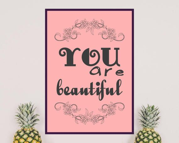 YOU ARE BEAUTIFUL Black, gray motivational quote on pink background. Stay motivated and inspired with this printable wall art.