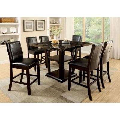 Furniture of America Newrock 7 Piece Counter Height Faux Marble Dining Table Set - IDF-3933PT-7PC