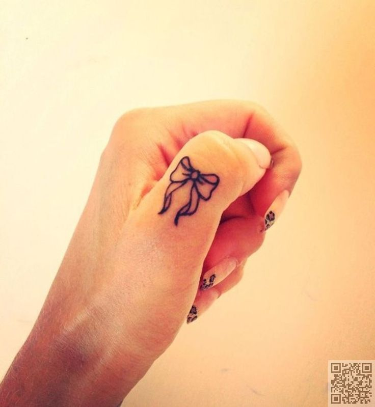 27. Bow #Finger Tattoo - 38 Tiny Finger #Tattoos That It's Impossible Not to Love ... → #Beauty #Designs