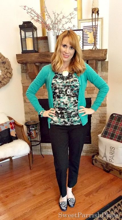 Sweet Parrish Place Style {Vol. 18} Black ankle pants, tiered ruffle shell, turquoise cardigan, zebra loafers.