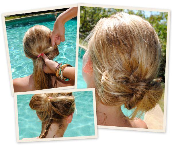 Omdat warrig strandhaar niet enkel goed is voor vlechten: de zwembadversie van Lady Gaga's haarstrik. Elegant, origineel en bijzonder handig.