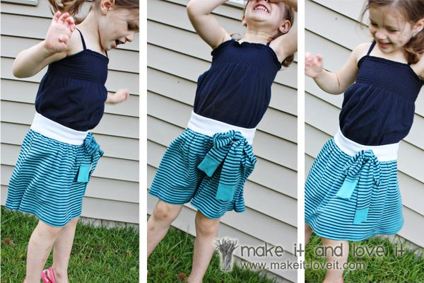 hey, look!  my skirt used to be a shirt!Little Girls, Knits Shirts, Ties, Old Shirts, Sewing Fun, Re Purpose, Little Girl Skirts